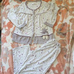 100% cotton pajamas pants suit set.